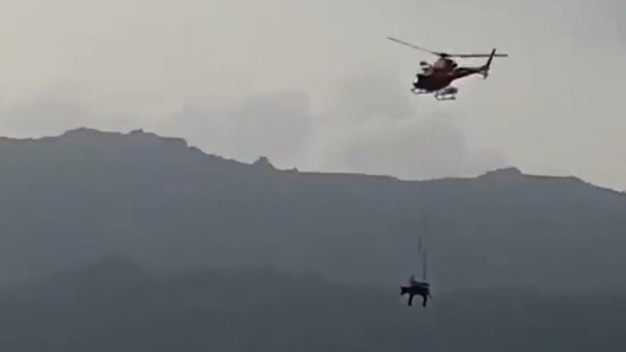 Как в Испания спасиха магаре с хеликоптер