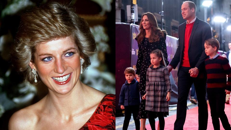 колаж принцеса Даяна Кейт Уилям деца