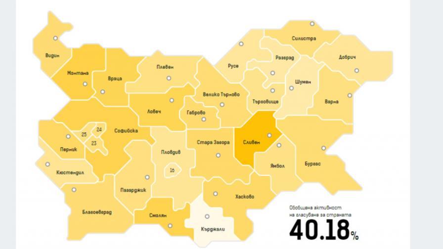 Какви са резултатите от вота по области