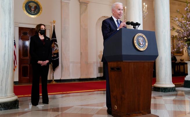 Президентът на САЩ Джо Байдън, вицепрезидентът Камала Харис