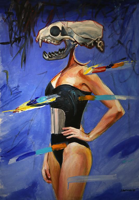 <p>Жена с череп в синьо - акрил, платно</p>