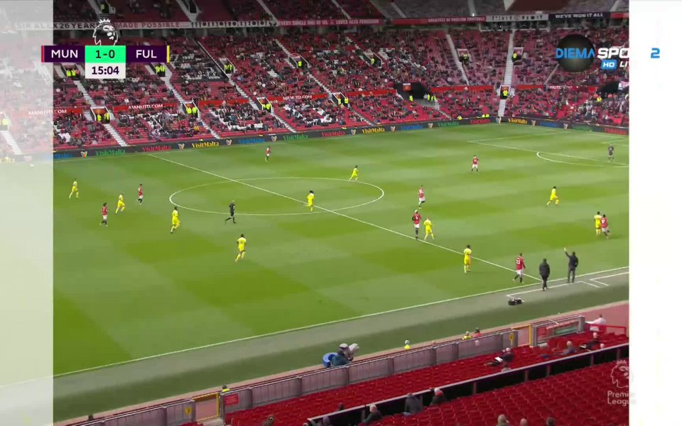 След точно четвърт час игра Манчестър Юнайтед излезе напред в