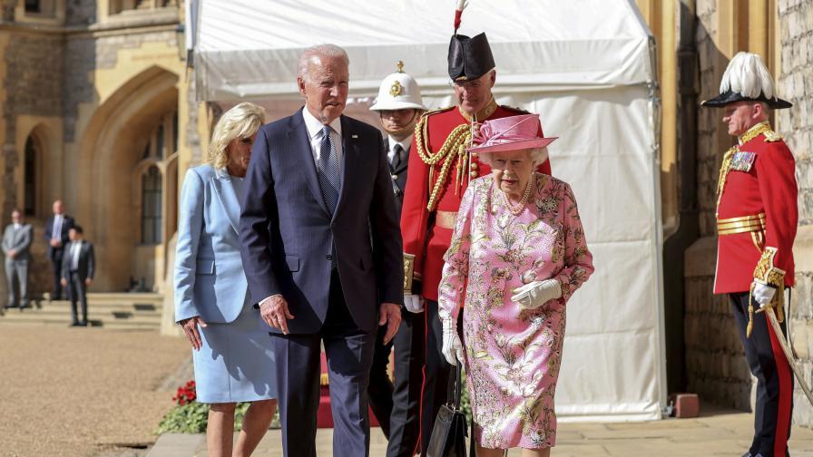 Байдън и съпругата му пиха чай с кралица Елизабет II