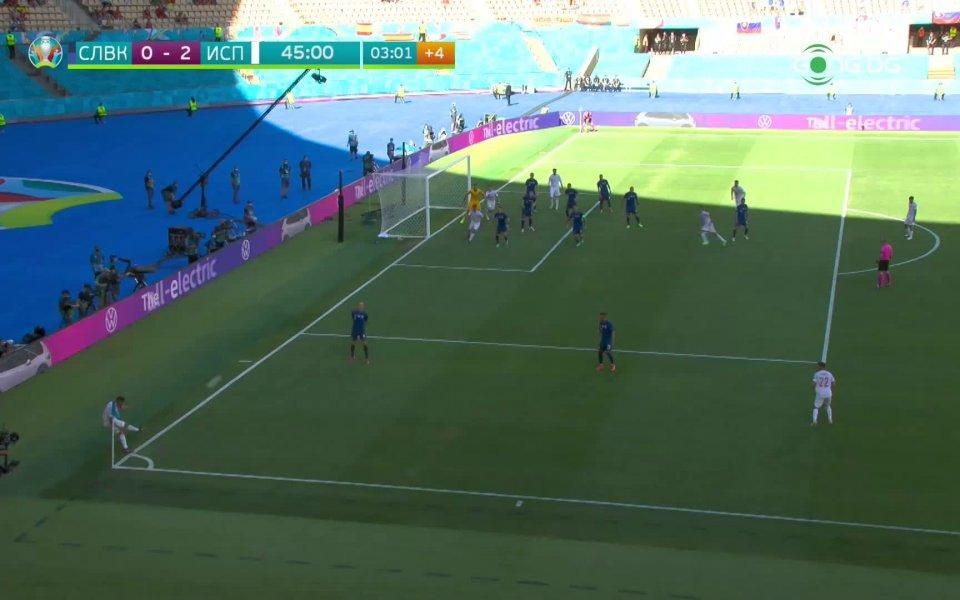 Испания стигна до втори гол срещу Словакия в добавеното време