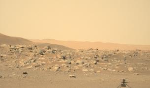 Хеликоптерът Ingenuity сниман от марсохода Perseverance
