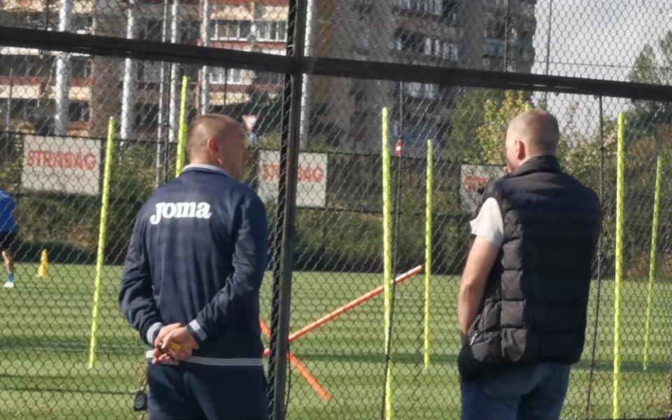 Собственикът на Левски Наско Сираков и старши треньорът на тима