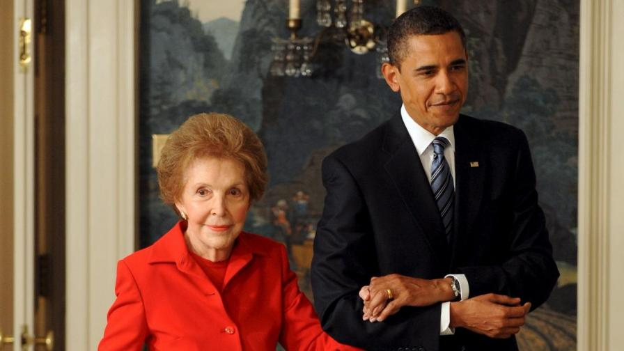Нанси Рейгън и Барак Обама