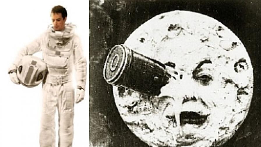 """Сам Рокуел в Moon (вляво) и най-известният кадър от """"Пътешествие до Луната"""" (1902 г.) на Жорж Мелиес"""