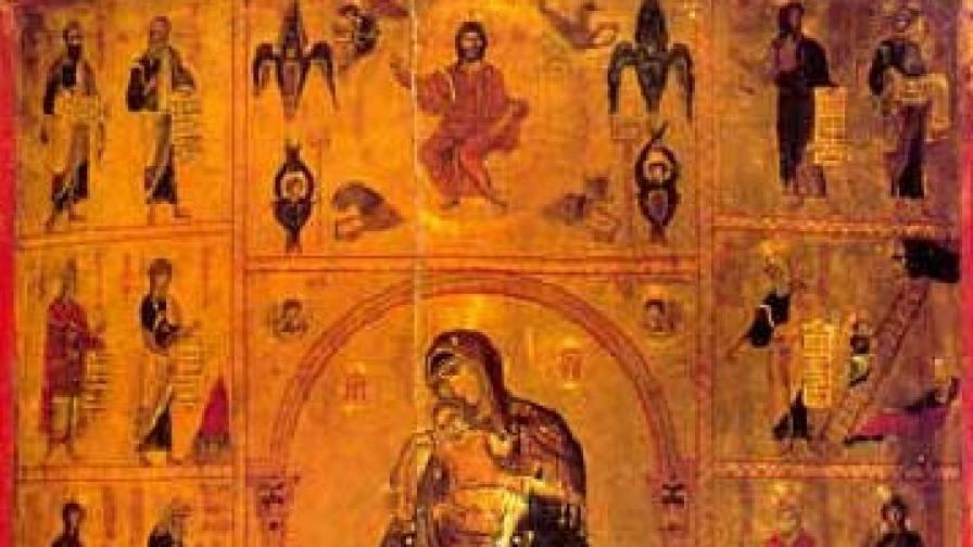 """Богородица с Младенеца и пророците. Икона от XI-XIIв.  """"Св. Екатерина"""" в Синай (детайл)"""