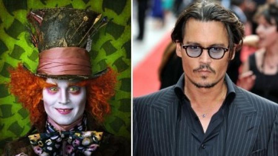 """Джони Деп като Лудия шапкар от """"Алиса"""" - и като самия себе си"""