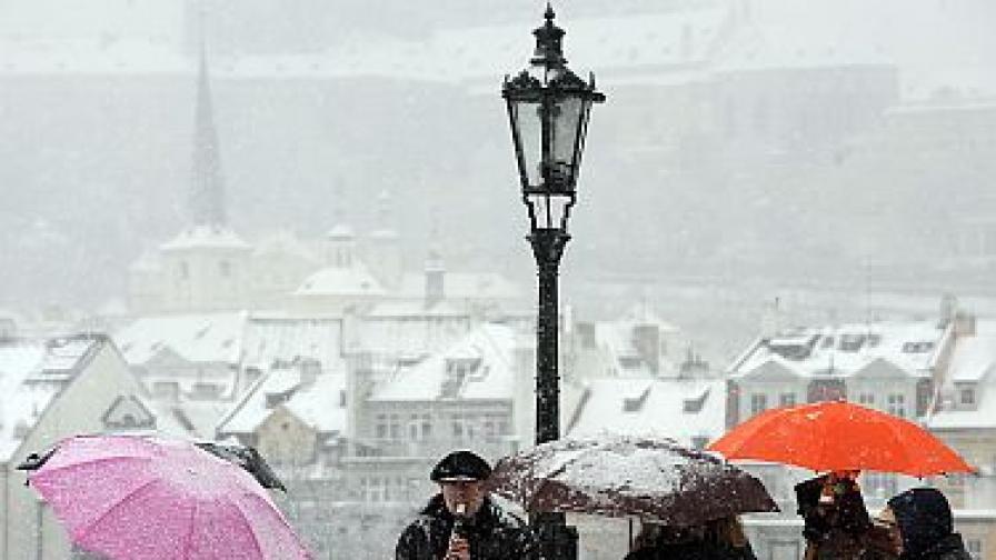 Уличен търговец свири на студа в Прага