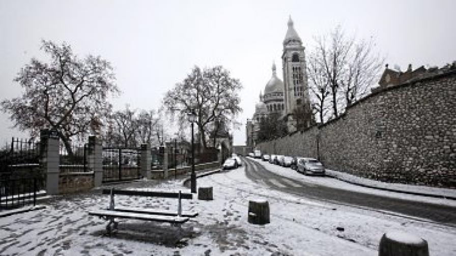 """Силен снеговалеж отменя полети на парижкото летище """"Роаси"""""""