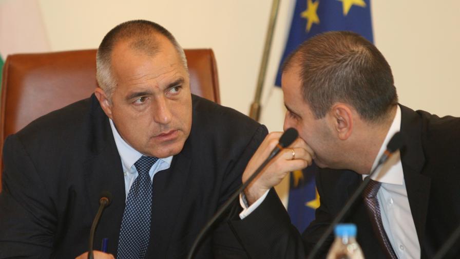 Премиерът Бойко Борисов и вътрешният министър Цветан Цветанов на днешното заседание на правителството