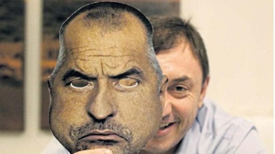Алексей Петров с картонена маска на Бойко Борисов