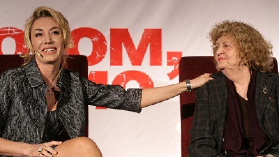 Мишел Бонев (л) и изпълнителкта на централната роля Татяна Лолова на пресконференция преди премиерата в София