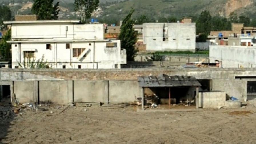 Сградата в Аботабад, където беше убит Осама. При атаката й САЩ загубиха хеликоптера си