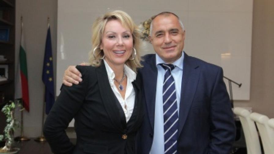 Бойко Борисов и Лепа Брена в кабинета на министър-председателя в министерския съвет