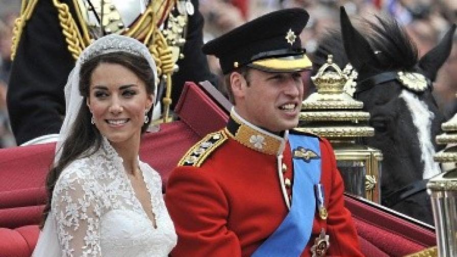 Младоженците принц Уилям и Кейт Мидълтън на път за Бъкингамския дворец