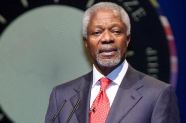 Кофи Анан (1938-2018). Анан заемаше поста генерален секретар на ООН два мандата поред от 1 януари 1997 до 31 декември 2006 г.