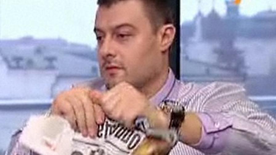 Бареков къса вестник в студиото на ТВ7