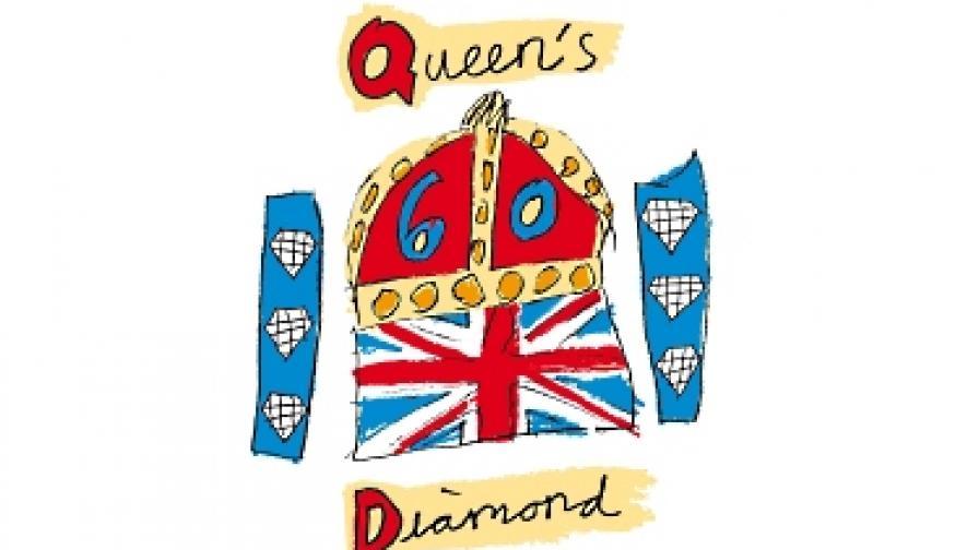 Официалната емблема на тържествата, разпространена от канцеларията на британската монархия. Автор е 10-годишно момиче. Емблемата е избрана след конкурс за деца на възраст между 6 и 14 години
