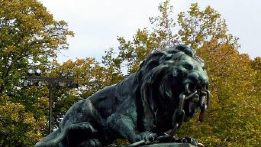 Русе: Пиян гол мъж се катери по Паметника на свободата