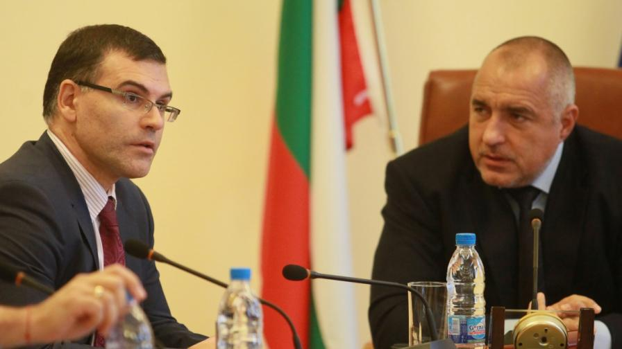 Симеон Дянков и Бойко Борисов преди началото на редовно заседание на Министерски съвет на 21 ноември 2012 г.