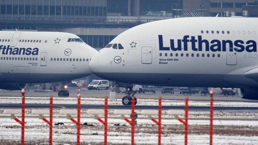 """""""Луфтханза"""" отмени около 100 полета заради снеговалежи"""