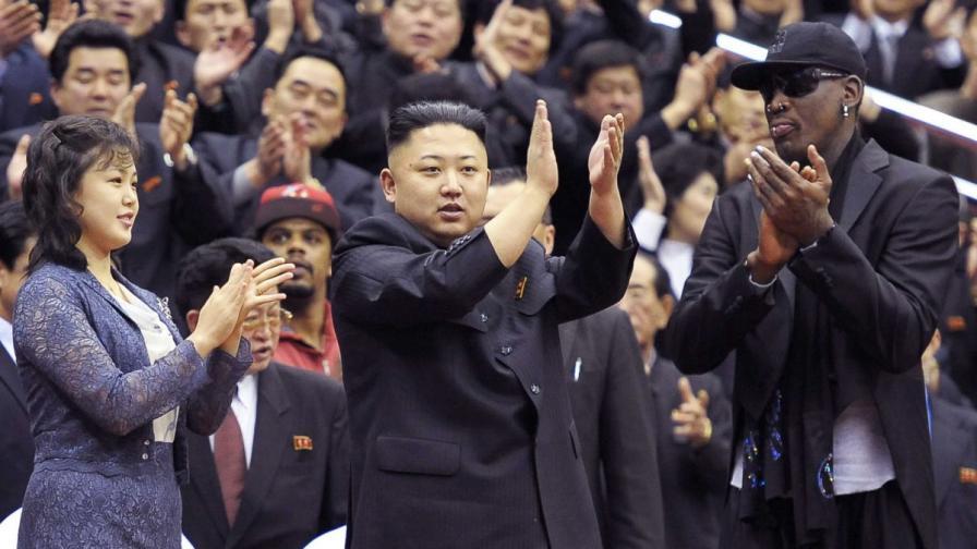 Денис Родман заедно със севернокорейския диктатор и неговата съпруга