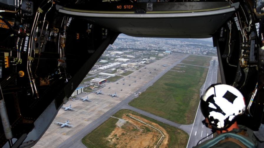 Поглед от въздуха върху американската база в Окинава