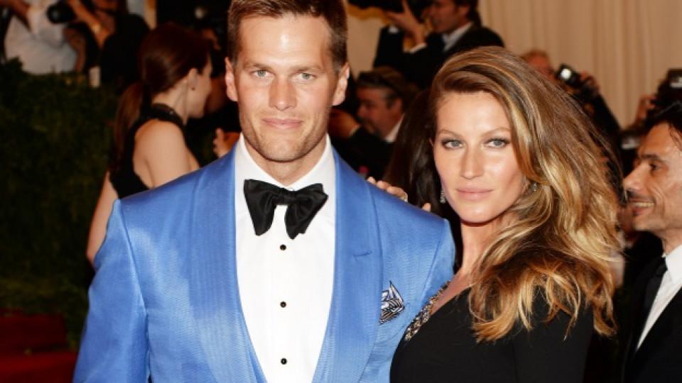 Жизел Бюндхен е омъжена за състезателя по американски футбол Том Брейди (вляво) от 2009 г. Двойката има син и дъщеря