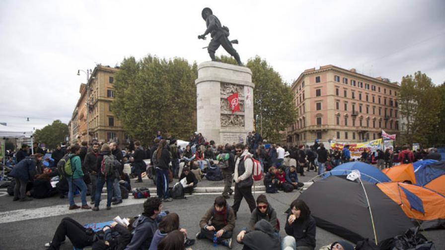 Втори ден протести срещу политика и икономии в Рим