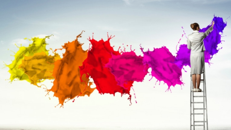 цвят стълба жена боя