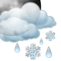 Partly cloudy and light wet snow